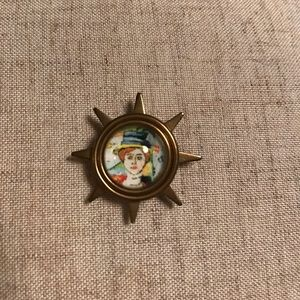 Handmade brooch, pin with domed glass